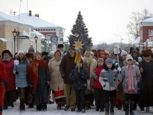 Рождественское шествие с колядками по Коломенскому кремлю 8 января 2015 г.