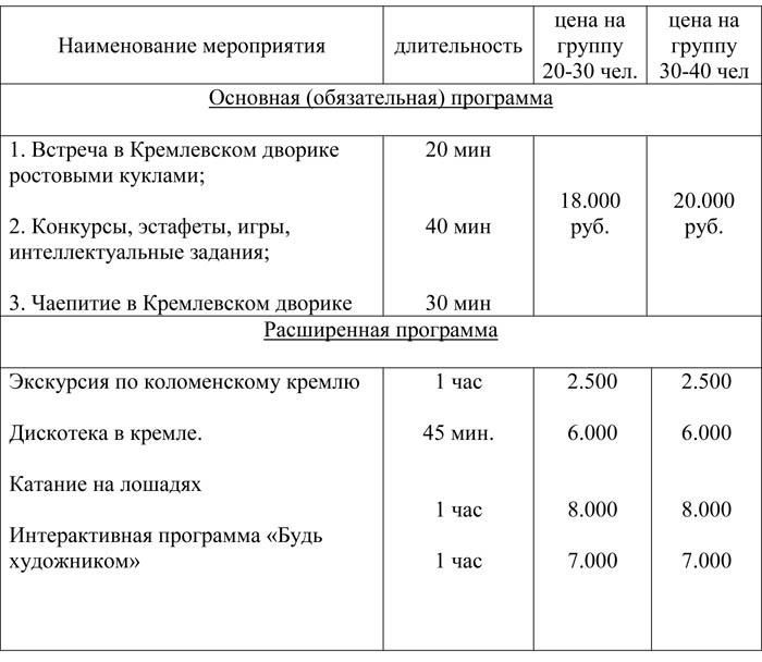 Расценки на проведение программы